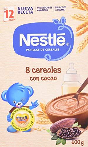 Nestlé Papilla 8 Cereales con Cacao - Alimento Para bebés - Paquete de 6x600 g - Total: 3.6kg