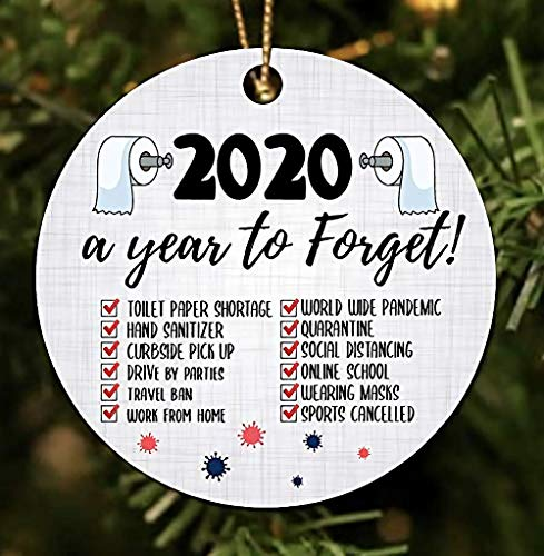 Christmas Ornament 2020 Year to Forget Christmas Ornament Pandemic Ornament Quarantined XMAS Gifts Presents Tree Decoration Hilarious Ceramic Stocking Stuffer Gift Toilet Paper (6)