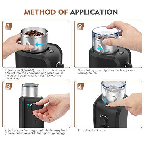 Coffee Grinder Electric-TTLIFE Electric Coffee Bean Grinder Spice Grinder with Stainless Steel Blade, 200W High Power Motor, Grind Size and Cup Selection,12 Cups Grinding Capacity, Removable Cup, Cord Storage System, Electric Grinder for Coffee Bean, Spices, Herbs, Nuts, Grains, etc.