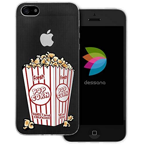 dessana Cover protettiva in silicone TPU trasparente, spessore 0,7 mm, per Apple iPhone 5/5S/SE popcorn