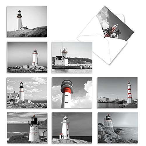 The Best Card Company - 10 Blank Note Cards with Envelopes (4 x 5.12 Inch) - Black & White Photos, Bulk Boxed Set - Red Beacons M1707BN