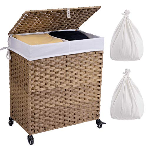 Crehomfy Laundry Hamper with Wheels and 2 Liner Bags Synthetic Rattan Wicker Handwoven Laundry Basket with Lid and Handle Foldable Dirty Clothes Hamper for Laundry Room Bathroom Natural 2 Section