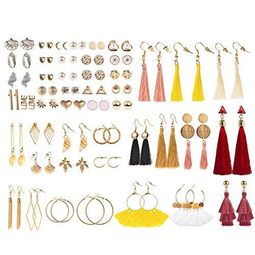 48 Pairs Bohemian Tassel Earring Set for Women Girls Hoop Stud Drop Dangle Ball Earrings for Birthday/Party/Christmas/Valentine/Friendship Gifts