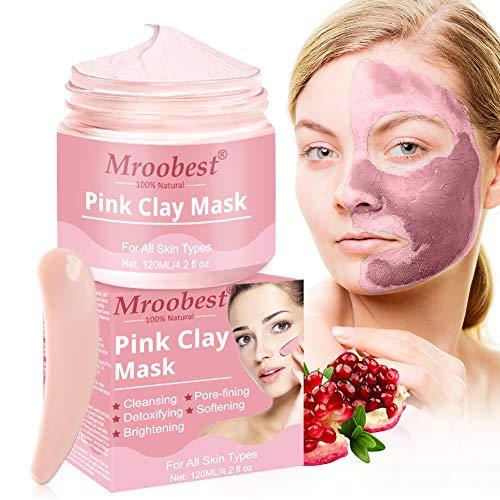 Pink Tonmaske, Mud Mask, Deep Cleansing Mask, Reinigungsmaske Gesicht, Entfernen von Akne und Mitessern Verfeinern der Poren Deep Cleansing, Hautstraffung und Brightening - 120ML/4.2 fl 0Z