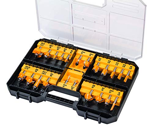 Dewalt Fräser-Set 22 tlg. (Nutfräser, Zinkenfräser, Hohlkehlfräser, in Aufbewahrungsbox mit Klarsichtdeckel) DT90017-QZ