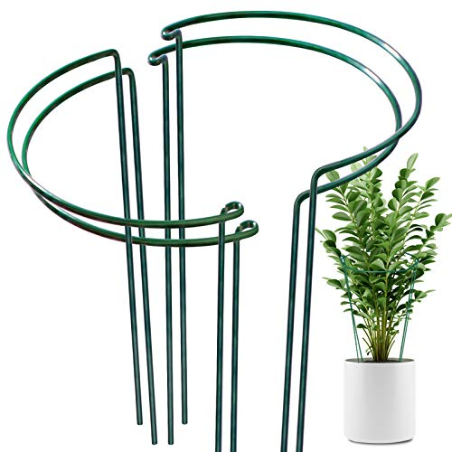 """LEOBRO 4 Pack Plant Support Stake, Metal Garden Plant Stake, Green Half Round Plant Support Ring, Plant Cage, Plant Support for Tomato, Rose, Vine (9.4"""" Wide x 15.6"""" High)"""