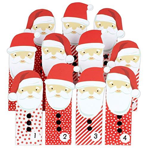 DIY Adventskalender zum Befüllen - ausgestanzter Weihnachtsmann - mit 24 roten Papiertüten zum selbst Befüllen und zum Selberbasteln - Weihnachten 2019 für Kinder
