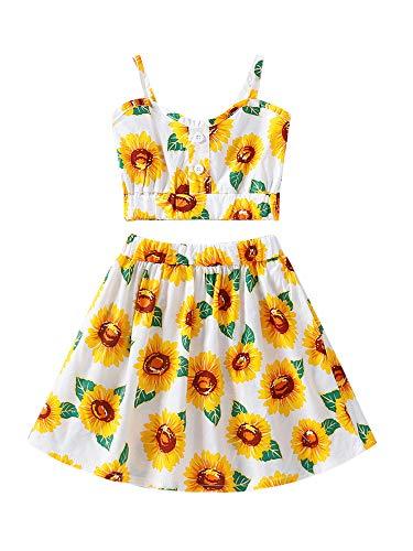 1-6T Kids Toddler Baby Girl Sunflower Outfit Sleeveless Crop Top Midi Skirt Dress Summer Clothes Set (Yellow, 3-4T)