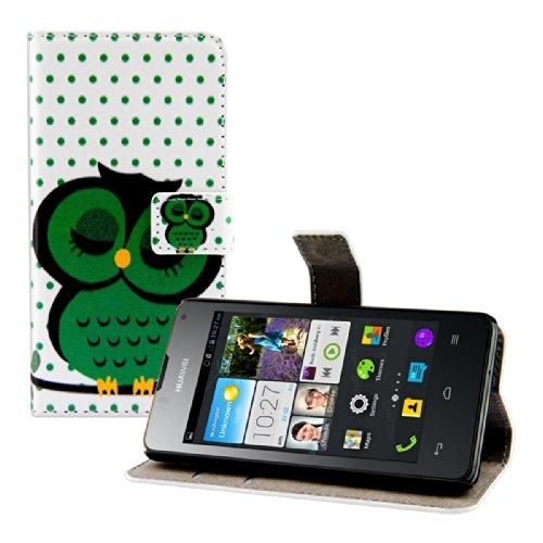 kwmobile Custodia Compatibile con Huawei Ascend Y300 - Cover Portafoglio Pelle Sintetica con Chiusura Magnetica - Porta Carte Civetta dormiente