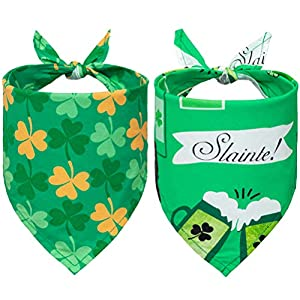 EXPAWLORER St. Patrick Dog Bandanas – 2 Pack Triangle Bibs Scarf for Small to Large Dogs & Cats
