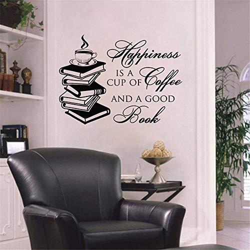 yiyiyaya Wandtattoo Zitat Glück ist eine Tasse Kaffee und EIN gutes Buch Lesen Vinyl Aufkleber Kinderbibliothek Wandbild Wohnkultur grau 57x77cm