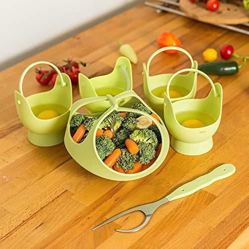 skoo cesta para cocinar al vapor (silicona, COCEDOR de huevos, y ...
