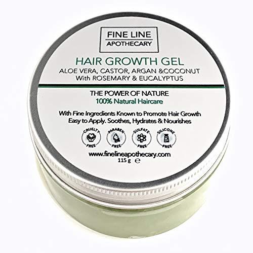 GEL CROISSANCE CHEVEUX - ALOE VERA, RICIN, ARGAN, NOIX DE COCO avec ROMARIN & EUCALYPTUS - 115 g - par Fine Line Apothecary. Huiles naturelles en gel d'Aloe Vera. Favorisent croissance cheveux.