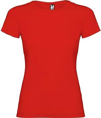 Camiseta roja para Mujer, Manga Corta, 100% algodón: Amazon ...