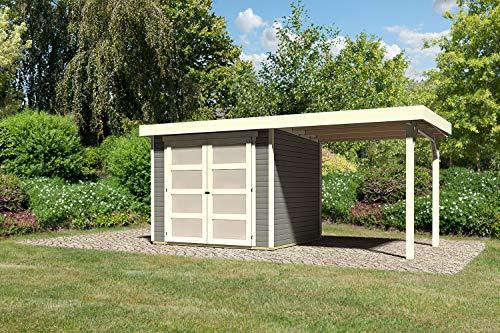 Karibu Gartenhaus Mühlendorf 3 terragrau 19 mm mit Anbaudach 2,20 m