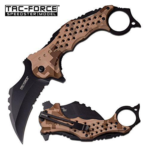 New SPRING-ASSIST FOLDING ProTactical Limited Edition Elite Knife Tac-Force 3' Black Serrated Blade Tan Camo Karambit