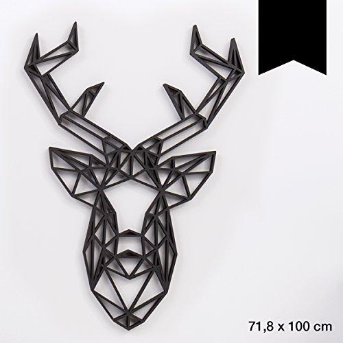 KLEINLAUT 3D-Origamis aus Holz - Wähle EIN Motiv & Farbe - Hirschkopf - 71,8 x 100 cm (XXL) - Schwarz