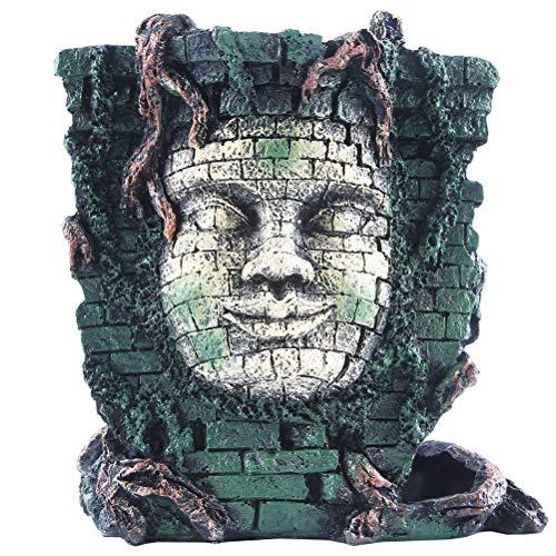 Ornamentos Para Tanques De Peixes De Aquário Resina Para Paisagismo Aquático Ornamentos De Retratos Maias (Cor Aleatória) (Caveira E Ossos Cruzados-314)