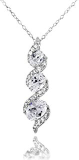 Ice Gems Sterling Silver Genuine, Created or Simulated and White Topaz Oval S Design Three-Stone Journey Necklace