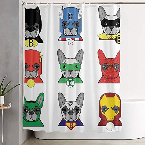 KGSPK Cortinas de Ducha,Bulldog Superheroes Divertidos Cachorros de Dibujos Animados disfrazados Disfraz Perros Superhroe con mscaras Imprimir,Cortina de bao Decorativa para bao,baera 180x180 cm