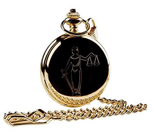 Taschenuhr, Motiv Waage der Gerechtigkeit, goldfarben, Geschenk für Anwalt/Richter