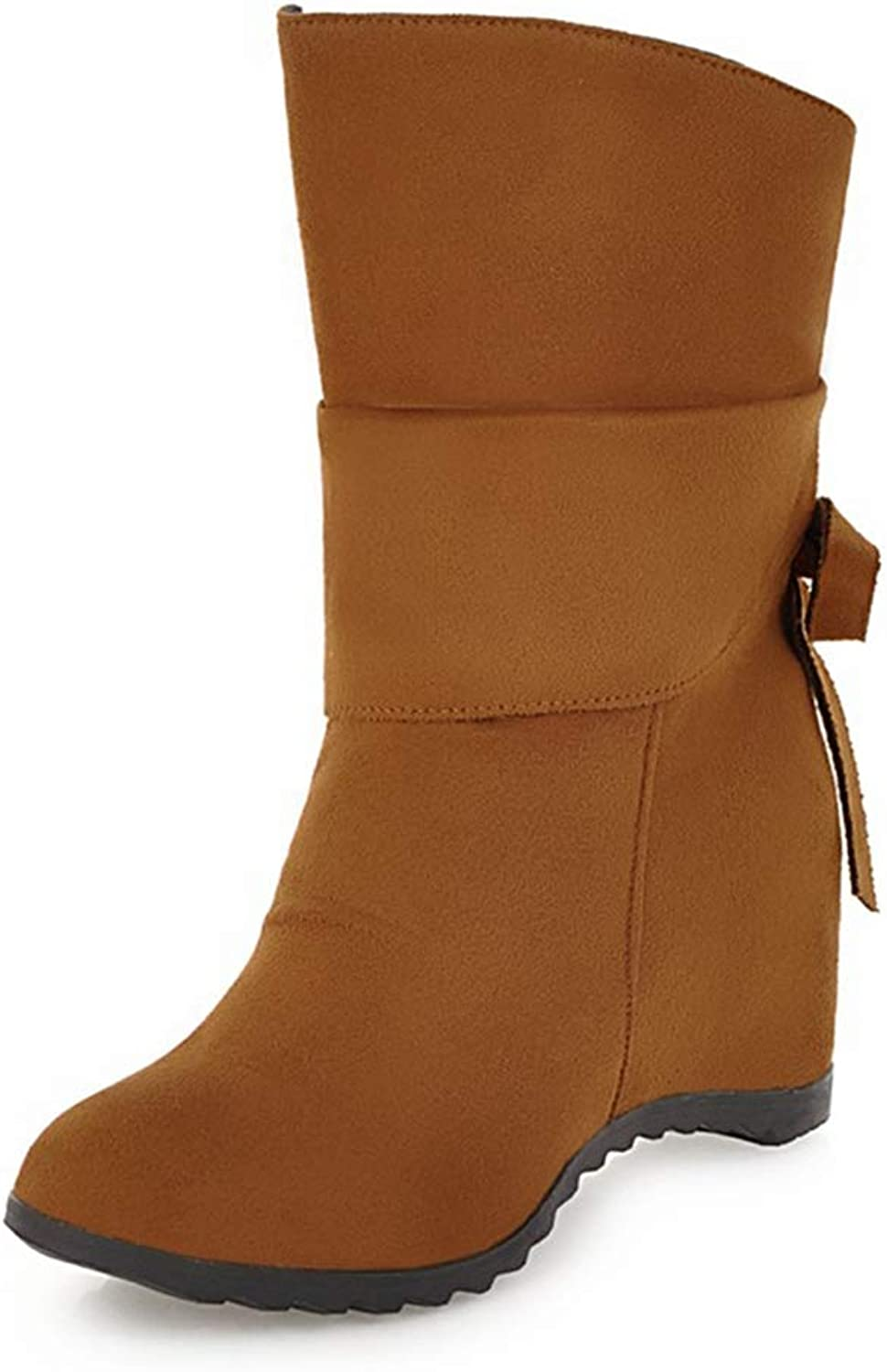 T-JULY Slip On Sweet Bow Tie Increasing Heels Winter shoes Woman Boots shoes Woman Mid Calf Boots New Plus Size 34-43