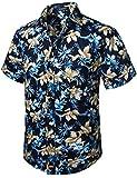 HISDERN Uomo Funky Hawaiana Floral Camicie Manica Corta Tasca Frontale Holiday Summer Aloha Printed Beach Casual Navy Blue Hawaii Shirt