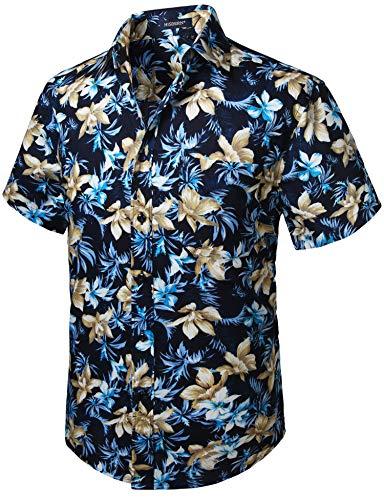 HISDERN Herren Funky Hawaiihemd Blumen Kurzarm Vordertasche Holiday Summer Aloha Bedruckter Strand Casual Navy Blue Hawaii Hemd