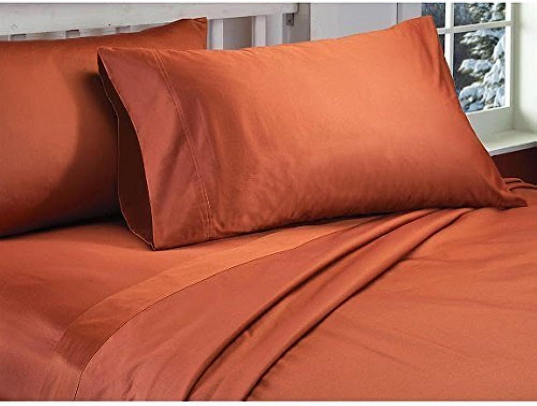 Dreamz Bedding Premium de qualité 550-thread-count Coton égypcravaten de lit 76,2cm Poche Profonde suppléHommestaire Double Petit, Brique Rouge Massif, 550tc Parure de lit de 100% Coton