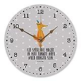 Mr. & Mrs. Panda Uhr, Küchenuhr, 30 cm Wanduhr Fuchs Indianer mit Spruch - Farbe Grau Pastell
