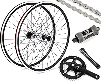 Eighth Inch Fixed Gear/Single Speed Conversion Kit 700c Wheelset Cranks // Black