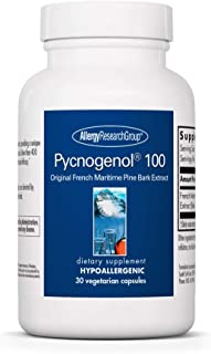 Allergy Research Group - Pycnogenol 100 - Pine Bark - Heart, Brain, Circulation - 30 Vegetarian Capsules