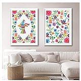 ONEAM Arte Mexicano del Bordado Pintura de la Lona Patrón de Colores Imagen del Arte Popular Mexicano Decoración de la habitación del hogar / 50X70Cmx2 Piezas Sin Marco