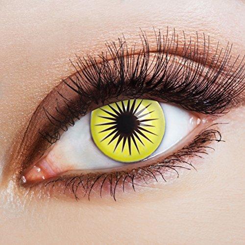 aricona Kontaktlinsen - Gelb-schwarze Kontaktlinsen Motivlinsen – deckende Kontaktlinsen ohne Stärke für Halloween, Karneval, Fasching und Kostüm-Partys, 2 Stück