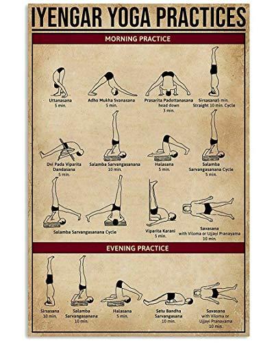 6639 Cartel de lata Iyengar Yoga Practice Fun World Education Science Classroom Infografía Cartel de lata con texto en inglés 'Great Retro Gifts and Decorative Door Wall School Granja Hospital'