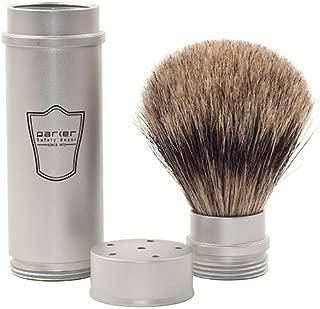 Parker Safety Razor, Full Size Travel Shaving Brush with Pure Badger Bristles