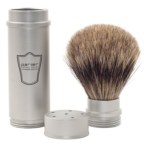 Parker Safety Razor, Full Size Travel Shaving Brush with Pure Badger Bristles - Ingenious Design Stores the Brush Head in the Handle Making the Brush Compact for Travel