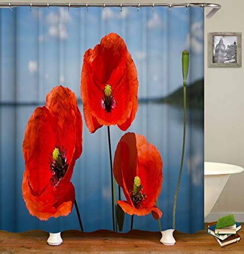 Red Flowers. Size: 180X180Cm. Includes 12 C-Shaped Hooks. It Dries Quickly And Does Not Fade. Curtain Shower Curtain Background Cloth.