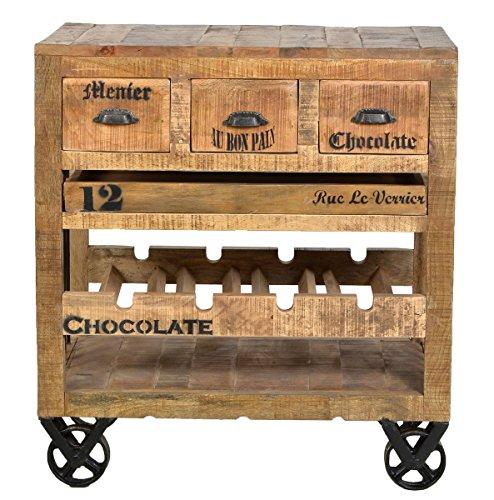SIT-Möbel Rustic 1987-04 Weinkommode, mit 3 Schubladen, 1 Einlegefach, aus Mangoholz, Antik, braun, Wortprints, 78 x 48 x 87 cm
