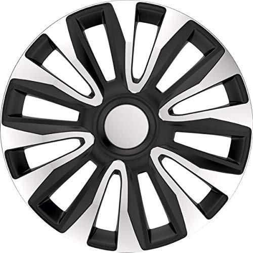 kh Teile Tapacubos de 16 pulgadas Avalon, color negro/plateado, de 2 capas lacadas, juego completo de 4 unidades