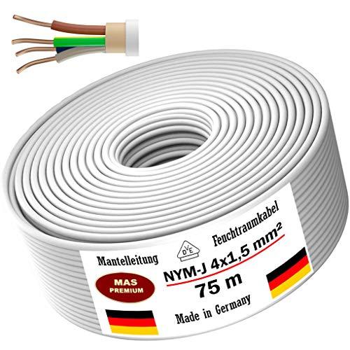 Feuchtraumkabel Stromkabel 5, 10, 15, 20, 25, 30, 35, 40, 50, 75, 80 oder 100m Mantelleitung NYM-J 4x1,5 mm² Elektrokabel Ring für feste Verlegung (75m)
