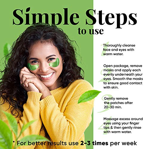 51IOGwXUSJL - Under Eye Mask – Under Eye Bags Treatment, Moisturizes With Green Tea Anti-Aging Effect, Eye Mask for Puffy Eyes, Matcha Extract Under Eye Gel Pads For Dark Circles Reducing