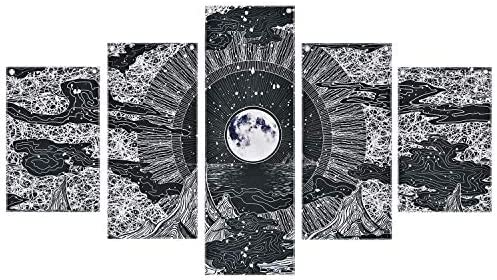 Moon Star Prints Wall Art 5 Piece Frameless Black White Fresco Wall Paintings Mountain and Clouds product image