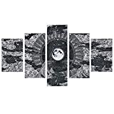 Moon Star Prints Wall Art, 5 Piece Frameless Black White Fresco Wall Paintings, Mountain and Clouds Picture Print with 10 Nails for Room