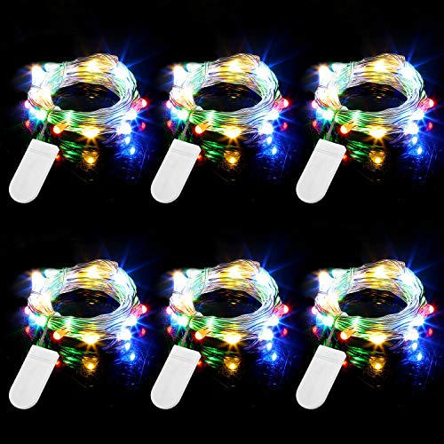 Engilen Fairy Lights 7.2 Feet 20 LED Copper Wire String Lights with Button Battery Operated for DIY Home Vase Jar Christmas Mother's Day Hoilday Party Multicolor (6 Pack)