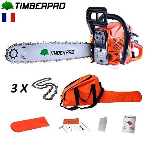 Tronçonneuse Timberpro 62 cm3 guide de 50 cm avec 3 chaines + housse...