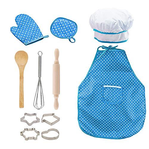 ZoneYan Chef Set Delantales para Niños, Delantal de Cocina para Niños, Conjunto...