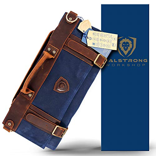 Dalstrong - Nomad Knife Roll - 12oz Heavy Duty Canvas & Top Grain Leather Roll Bag - 13 Slots - Interior and Rear Zippered Pockets - Blade Travel Storage/Case (Dalstrong Blue)