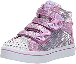 Skechers Kids Girls' TWI-Lites-Miss Holla-Glam Sneaker, Pink/Silver, 6 Medium US Toddler