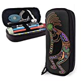 Western Southwest Fertility Daciing Kokopelli Art Colorful School Pencil Case Holder Pouch Office Pen Box Zipper Bag Set Pu Leather Zip